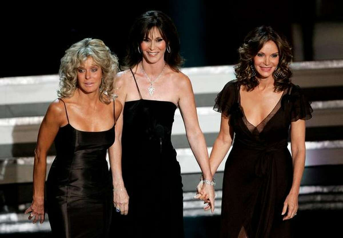(L-R) Actresses Farah Fawcett, Kate Jackson, and Jaclyn Smith present onstage at the 58th Annual Primetime Emmy Awards at the Shrine Auditorium on August 27, 2006 in Los Angeles, California.