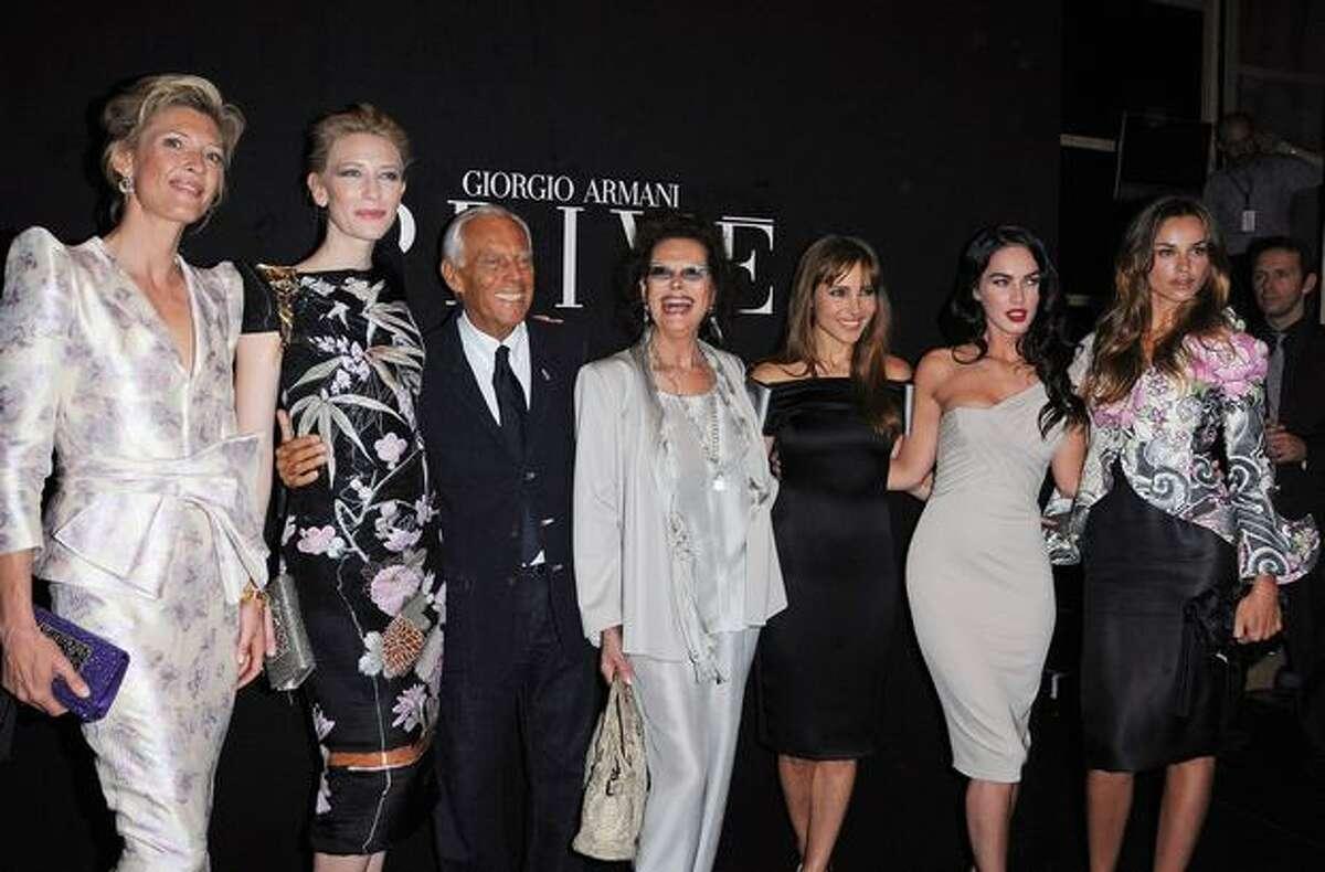 From left, Mafalda Von Hesse, Cate Blanchett, Giorgio Armani, Claudia Cardinale, Elsa Pataky, Megan Fox and Kasia Smutniak attend Giorgio Armani Prive fashion show.
