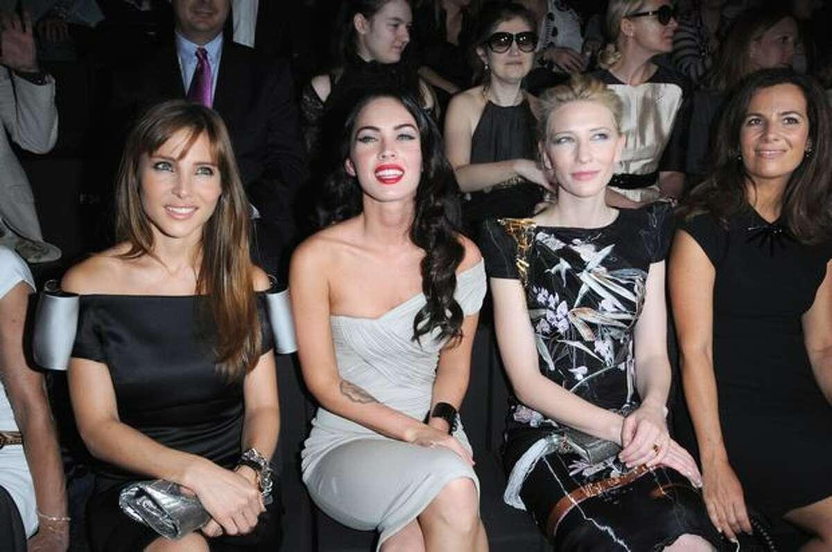 From left, Elsa Pataky, Megan Fox, Cate Blanchett and Roberta Armani attend the Giorgio Armani Prive fashion show.