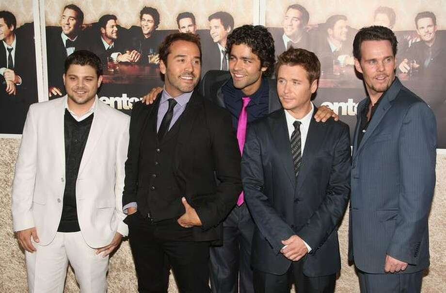 "Actors Jerry Ferrara, Jeremy Piven, Kevin Connolly, Adrian Grenier, and Kevin Dillon arrive at the premiere of HBO's ""Entourage"" Season 6 in Los Angeles, California. Photo: Getty Images"