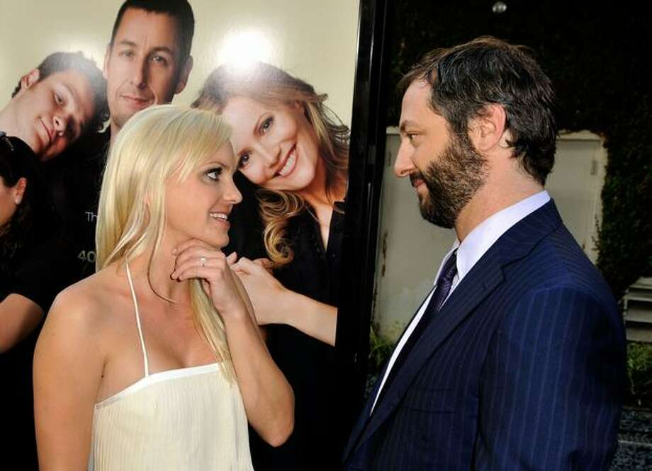 "Actress Anna Faris and director/writer/producer Jude Judd Apatow attend the premiere of Universal Pictures' ""Funny People"" held at ArcLight Cinemas Cinerama Dome in Hollywood, California. Photo: Getty Images"