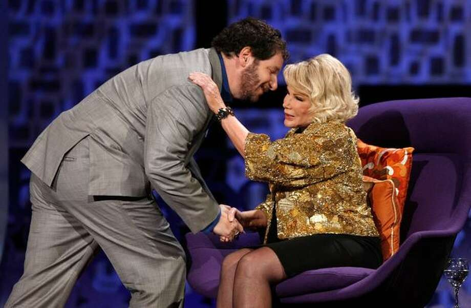 Comedians Jeffrey Ross and Joan Rivers onstage at the The Comedy Central Roast Of Joan Rivers held at CBS Studios in Studio City, California. Photo: Getty Images