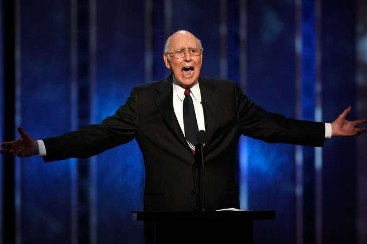 Comedian Carl Reiner onstage at the The Comedy Central Roast Of Joan Rivers held at CBS Studios in Studio City, California.