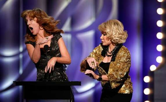 Comedians Kathy Griffin and Joan Rivers onstage at the The Comedy Central Roast Of Joan Rivers held at CBS Studios in Studio City, California. Photo: Getty Images