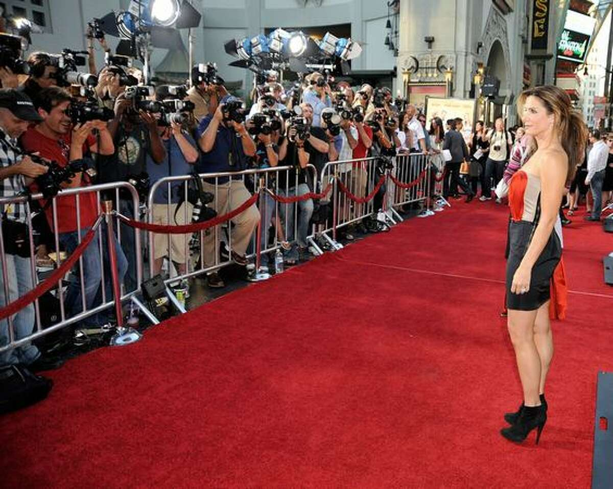 """Actress Sandra Bullock arrives at the premiere of Twentieth Century Fox's """"All About Steve"""" held at Mann's Chinese Theater in Los Angeles on Wednesday, Aug. 26, 2009."""