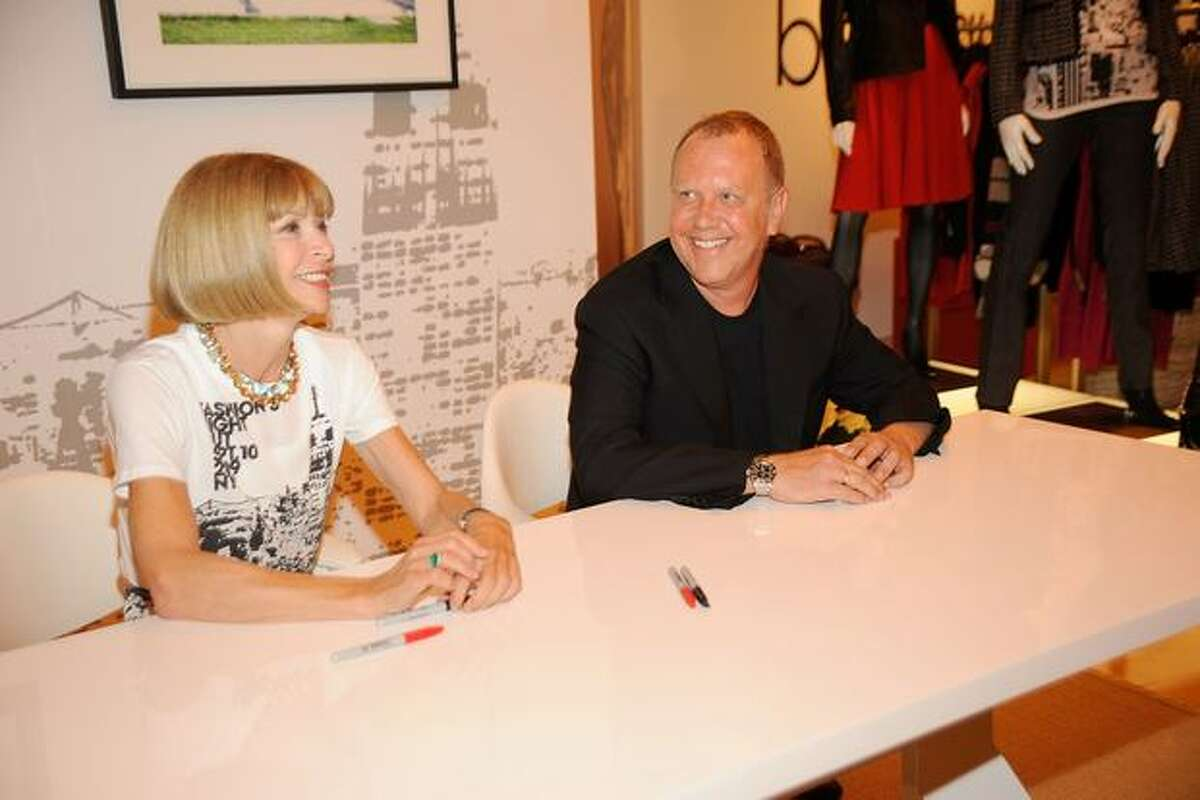 Vogue editor-in-chief Anna Wintour (left) and designer MIchael Kors attend the Fashion's Night Out Kick-Off event at the Vogue Pop Up Boutique at Macy's Queens .