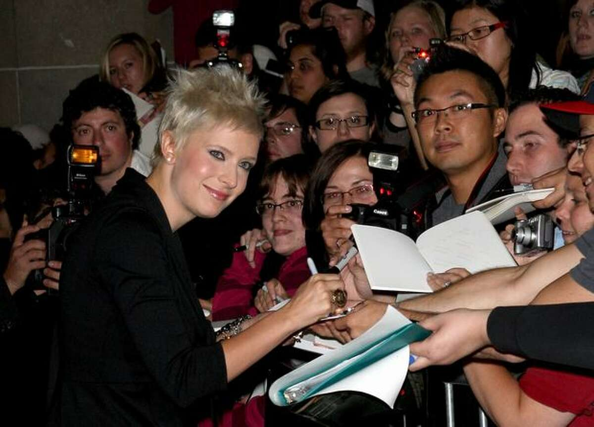 """Writer Diablo Cody signs autographs as she arrives at the Toronto International Film Festival Midnight Madness screening """"Jennifer's Body"""" held at the Ryerson Theatre on September 10, 2009 in Toronto, Canada."""