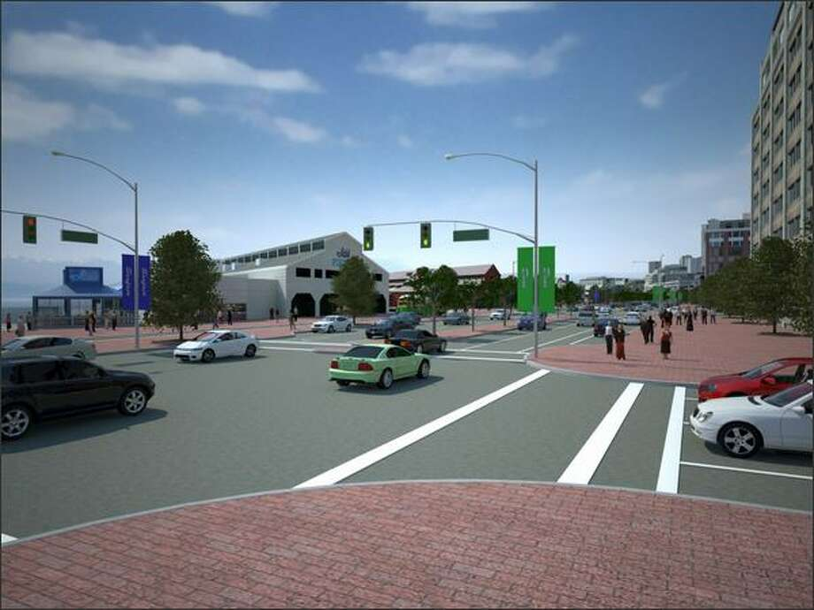 Waterfront street level view near Pier 54 and Madison Street. Scenarios A and B -- surface boulevard -- appear identical in this view. Scenario A combines lower cost investments in new roads or transit service with a maximum effort to manage transportation demand. Alaskan Way would be two lanes in each direction north of Yesler Way, with bike lanes and parking. There would be signalized intersections on the waterfront. This scenario would also reconnect the east/west street grid north of the Battery Street Tunnel with new signalized intersections on Aurora Avenue North. Scenario B is similar to Scenario A, but it has more capital investments and more aggressive transit improvements. Photo: Washington State Department Of Transportation