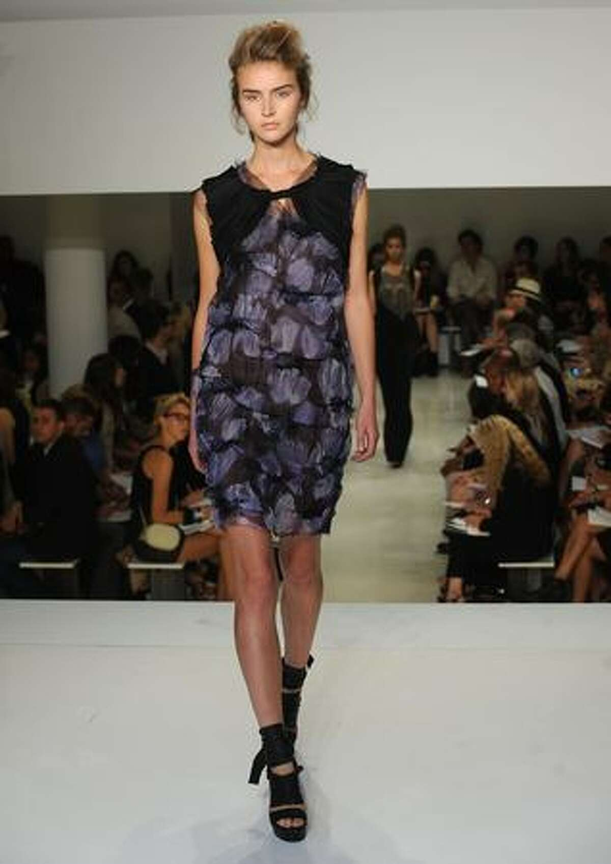 A model walks the runway at Vera Wang Spring 2010 fashion show at 158 Mercer Street in New York City.
