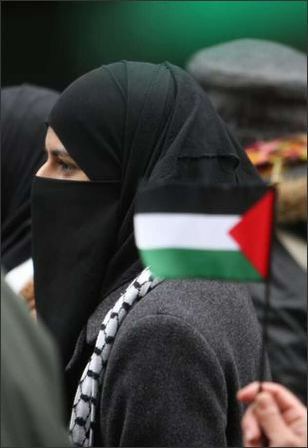 Supporters of Palestine march through downtown Seattle. Photo: Mike Kane, Seattle Post-Intelligencer