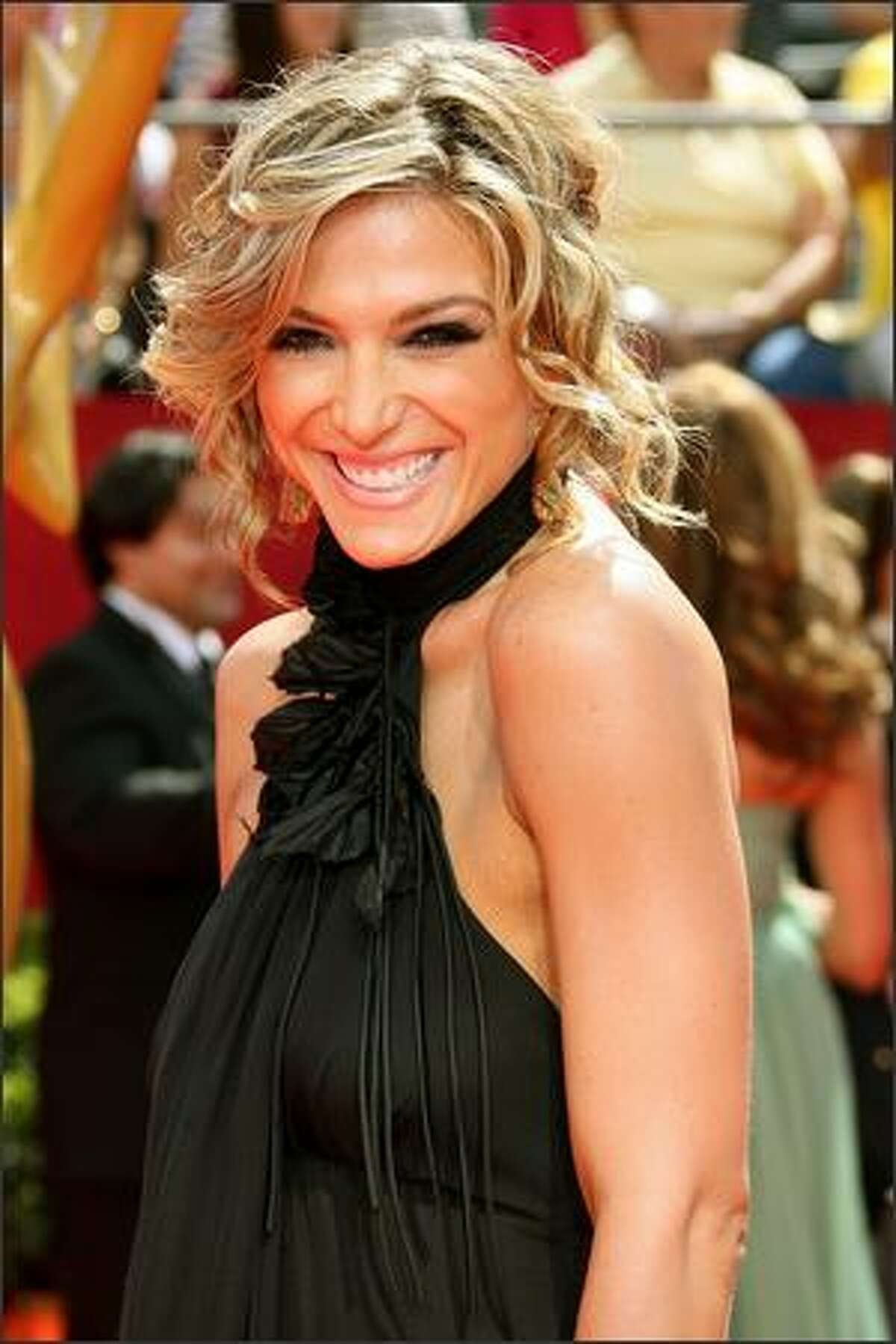 TV Personality Debbie Matenopoulos arrives at the 60th Primetime Emmy Awards held at Nokia Theatre in Los Angeles, California.