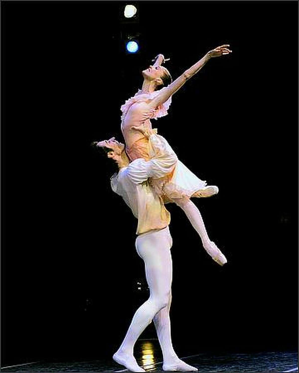 Pacific Northwest Ballet principal dancer Louise Nadeau with former PNB principal Christophe Maraval in George Balanchine's Brahms-Schoenberg Quartet.