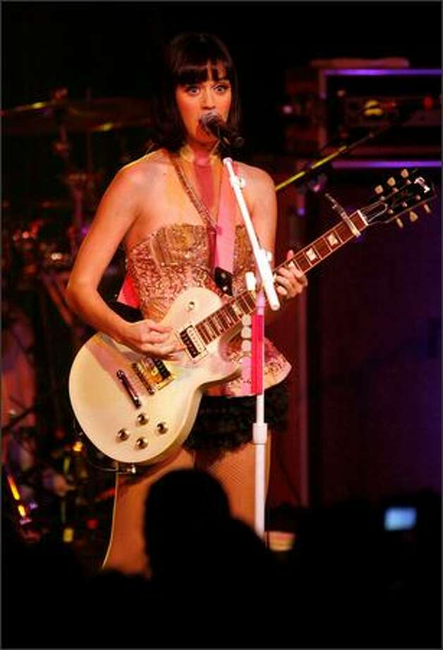"""Katy Perry plays Showbox at the Market in downtown Seattle on Friday night. Perry hit it big last summer with her album """"One of the Boys"""" and the singles """"I Kissed a Girl,"""" """"Ur So Gay"""" and """"Hot N Cold."""" Photo: Mike Urban, Seattle Post-Intelligencer"""