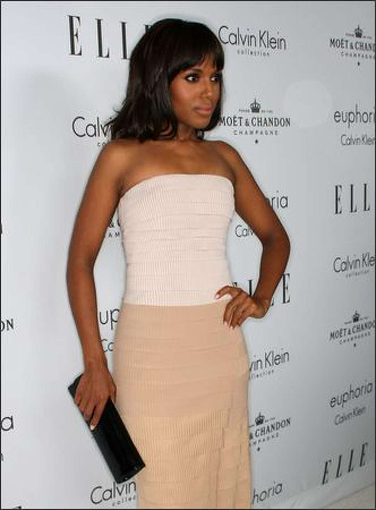 Actress Kerry Washington arrives at the 15th annual Women In Hollywood Tribute hosted by ELLE Magazine at the Four Seasons Hotel on Monday in Beverly Hills, Calif.
