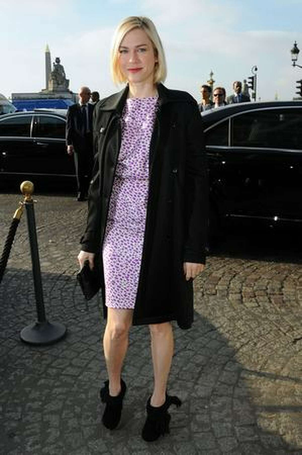 Actress Marie-Josee Croze attends a runway show as part of Paris Fashion Week spring/summer 2010 in Paris.