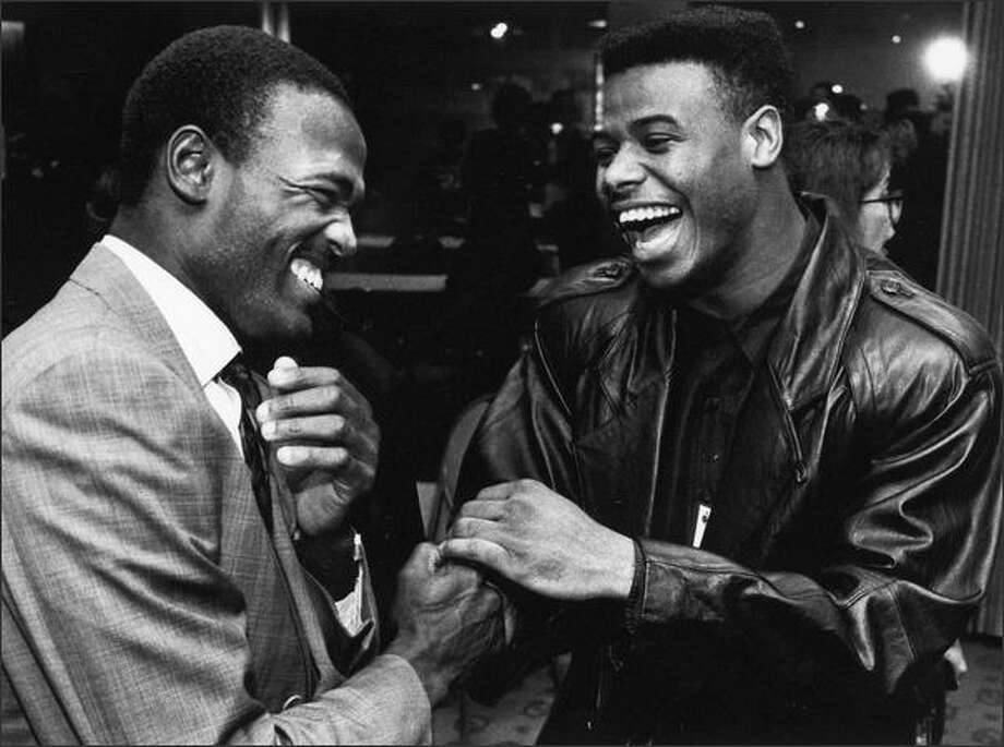 Harold Reynolds, left, and Ken Griffey Jr. 1991. Photo: Kurt Smith, Seattle Post-Intelligencer