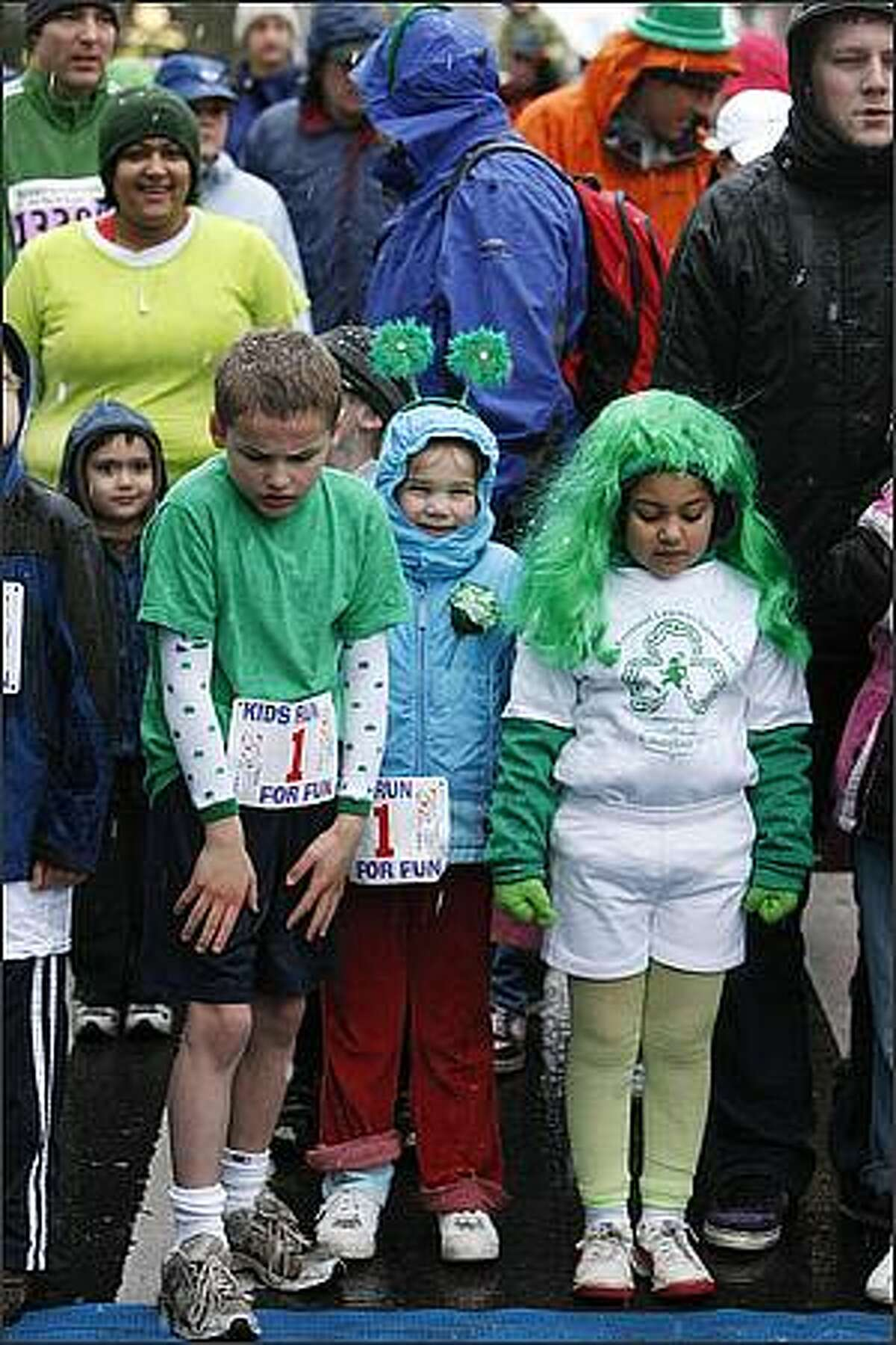 Kids get ready for the start of the kids portion of the St. Patrick's Day Dash.