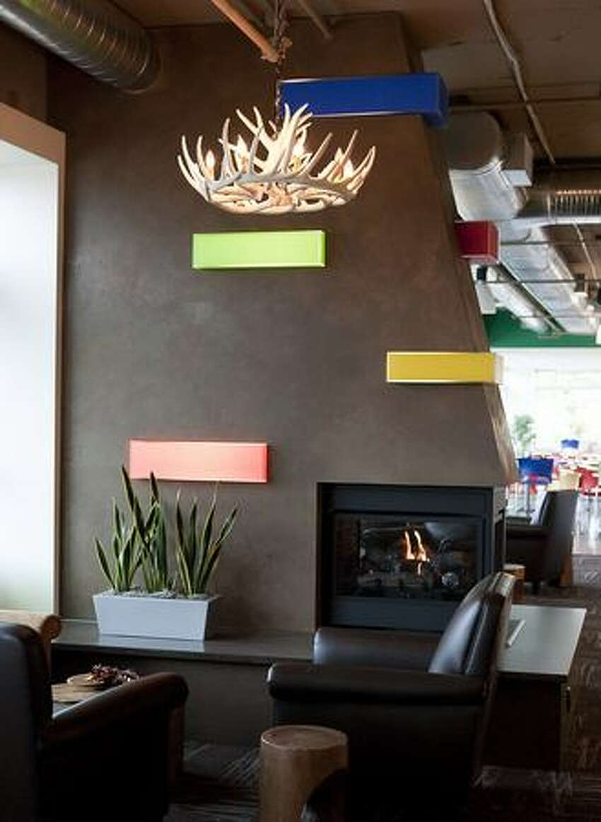 A fireplace is among the features at Google Kirkland.