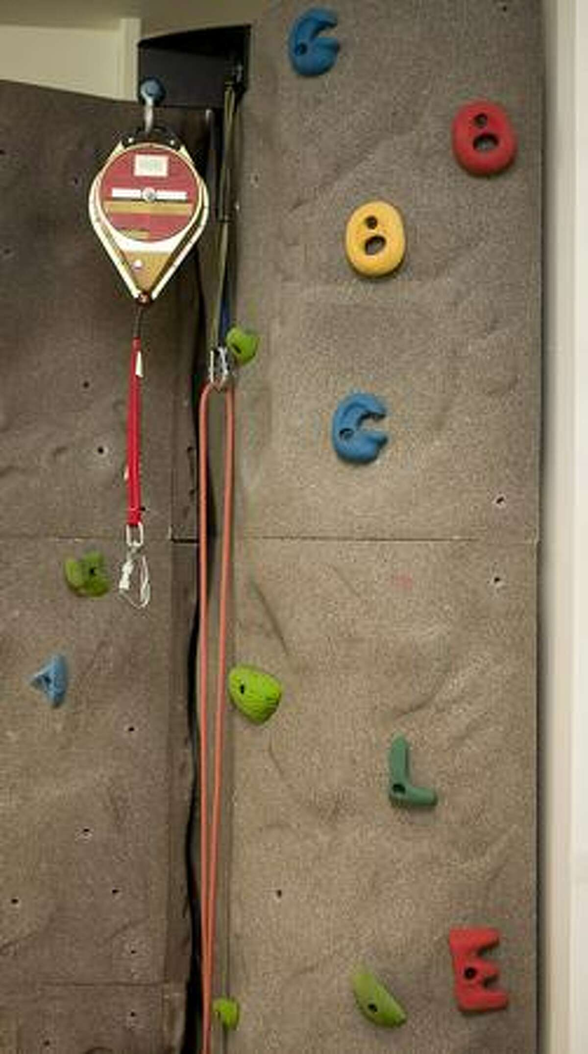 Google is spelled out in handholds on the climbing wall at Google Kirkland.