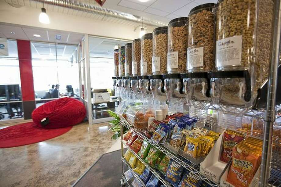 A cart full of snacks sits near a mini-kitchen in a Google Kirkland building on Wednesday. Photo: Getty Images