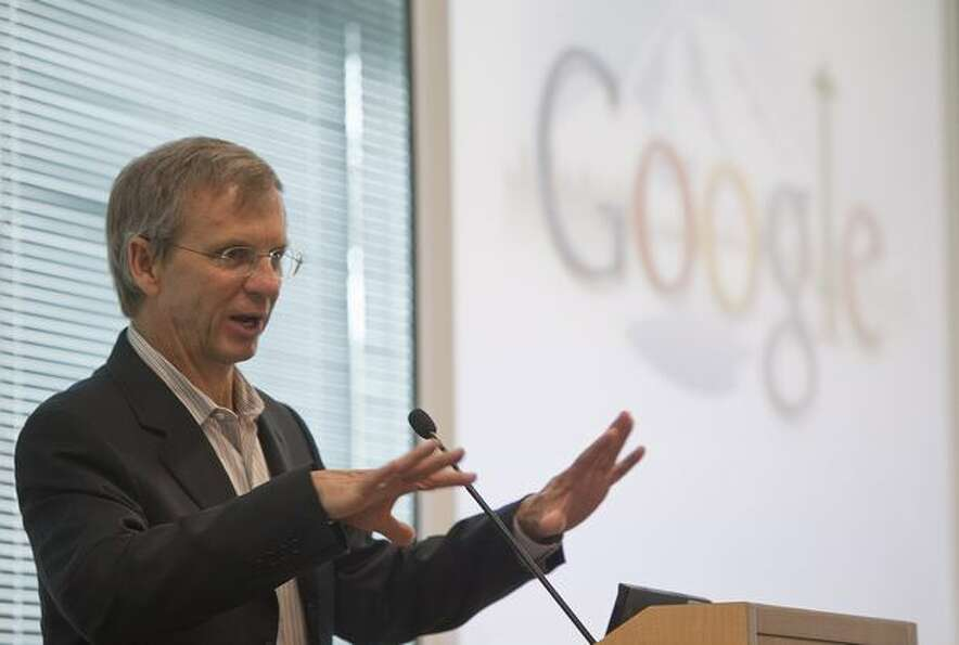 Alan Eustace, Google's senior vice president of engineering and research, speaks during the grand op
