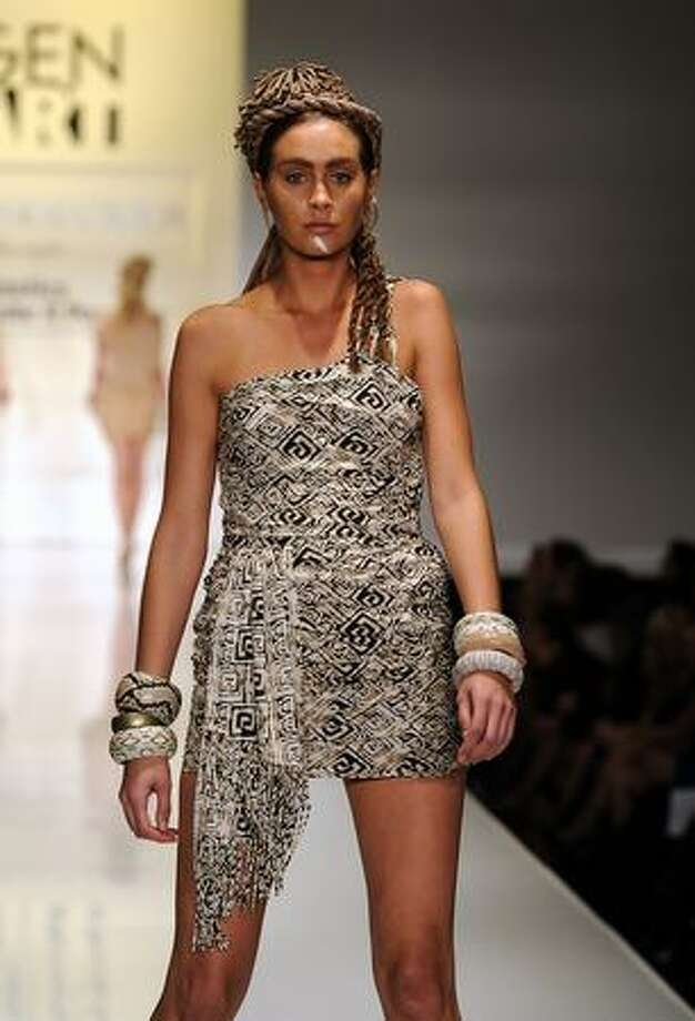 """A model wears leyendecker on the runway at Gen Art's 12th Annual """"Fresh Faces In Fashion"""" at the Petersen Automotive Museum in Los Angeles, California. Photo: Getty Images"""