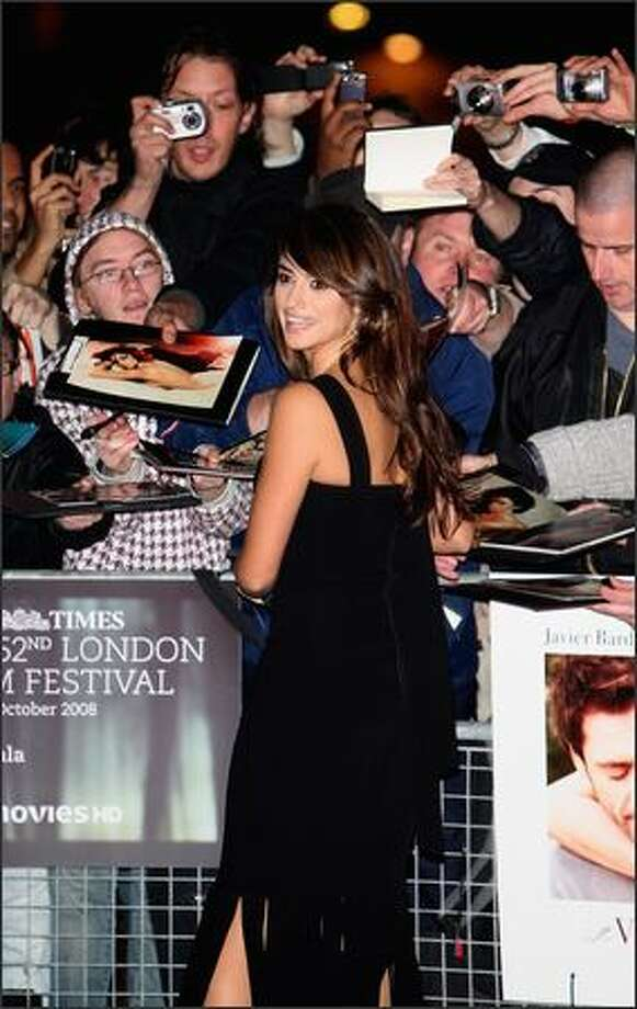 "Actress Penelope Cruz arrives at the premiere of ""Vicky Cristina Barcelona"" during the BFI 52nd London Film Festival, at the Odeon Cinema in Leicester Square, London, on Tuesday. Photo: Getty Images"