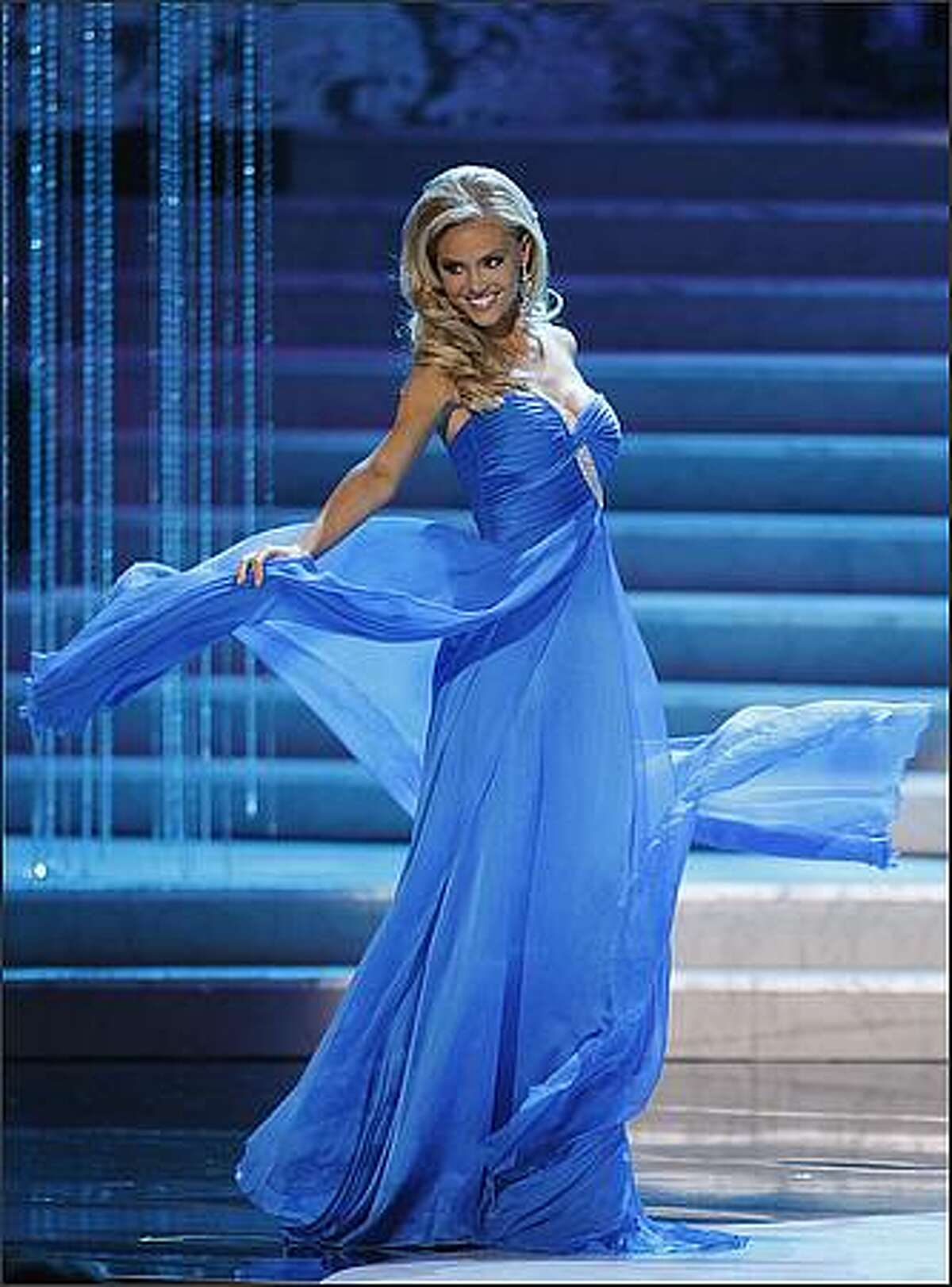 Miss North Carolina Kristen Dalton competes during the Miss USA Pageant on Sunday in Las Vegas. Dalton was later crowned Miss USA. (AP Photo/Eric Jamison)