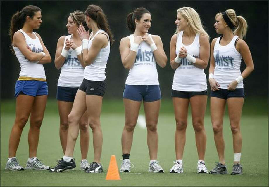 Members of the Seattle Mist, of the Lingerie Football League, participate in a mini-camp on Wednesday at the Starfire Sports Complex in Tukwila. Photo: Joshua Trujillo, Seattlepi.com