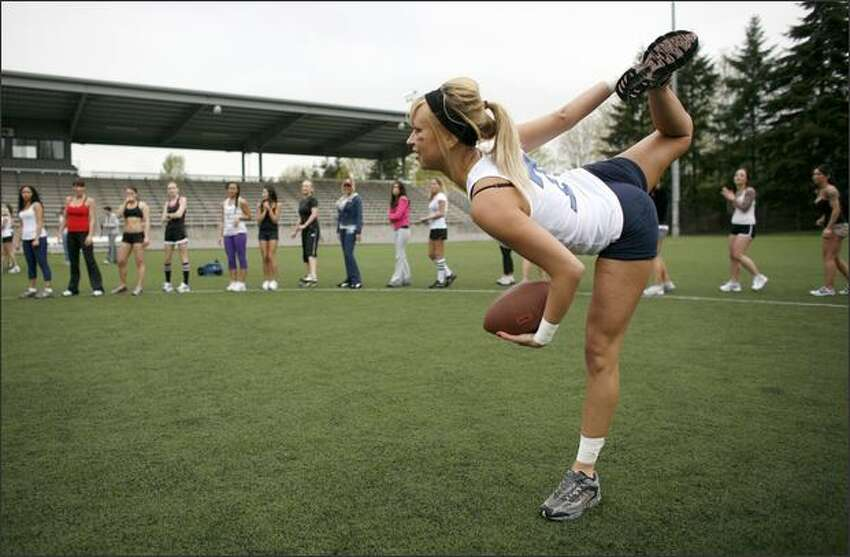 Alicia McLauchlin of the Seattle Mist stretches during a break in training.
