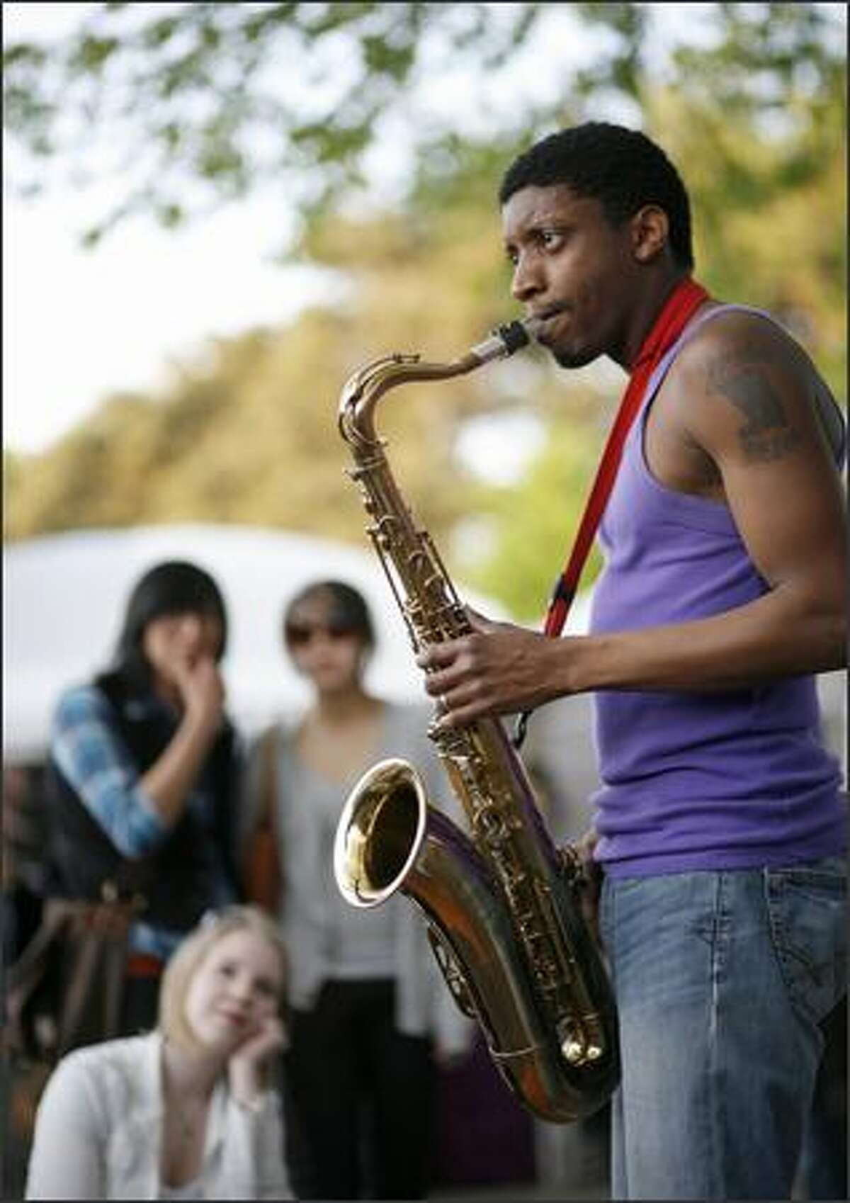 Javon Miller from Bellingham plays the sax with his musical group.