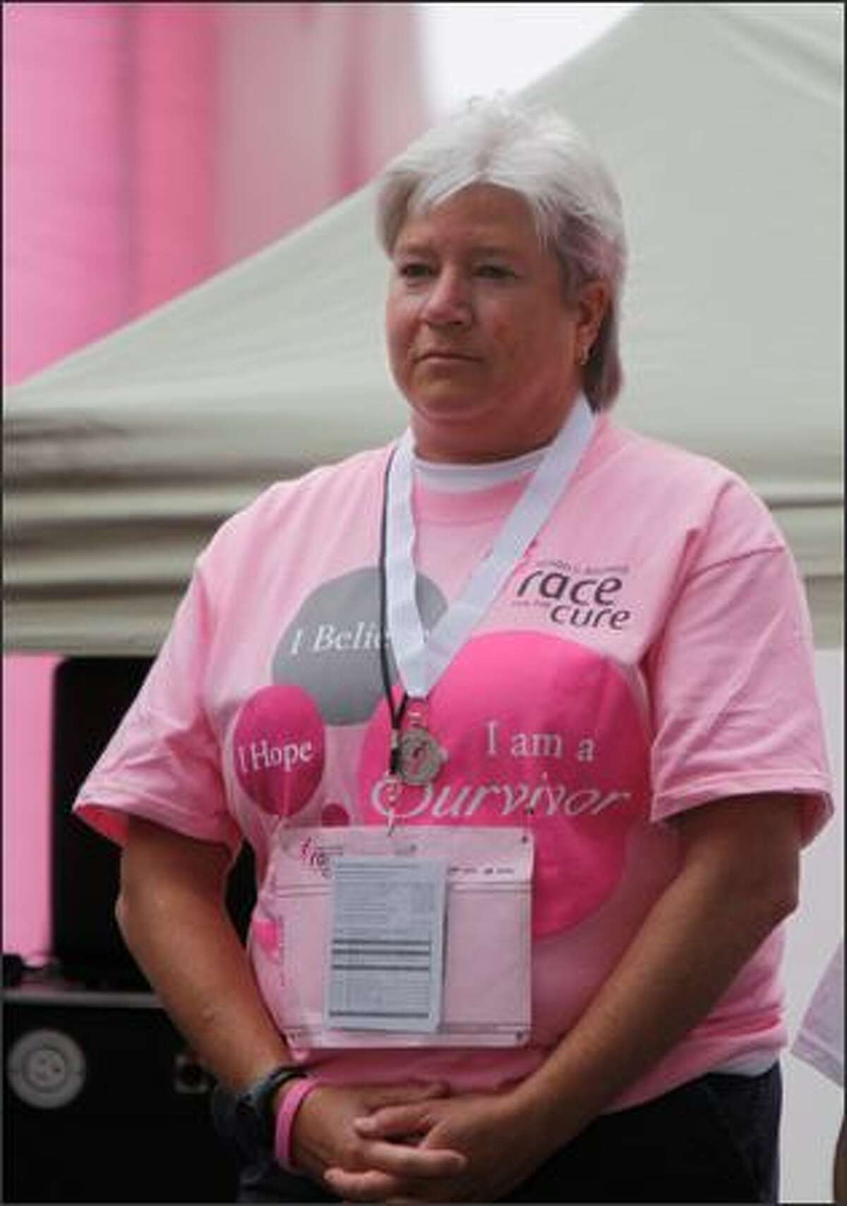 Seattle Police Lt. Robin Clark was grand marshal of the 2009 Komen Puget Sound Race for the Cure at Qwest Field in Seattle, Sunday.