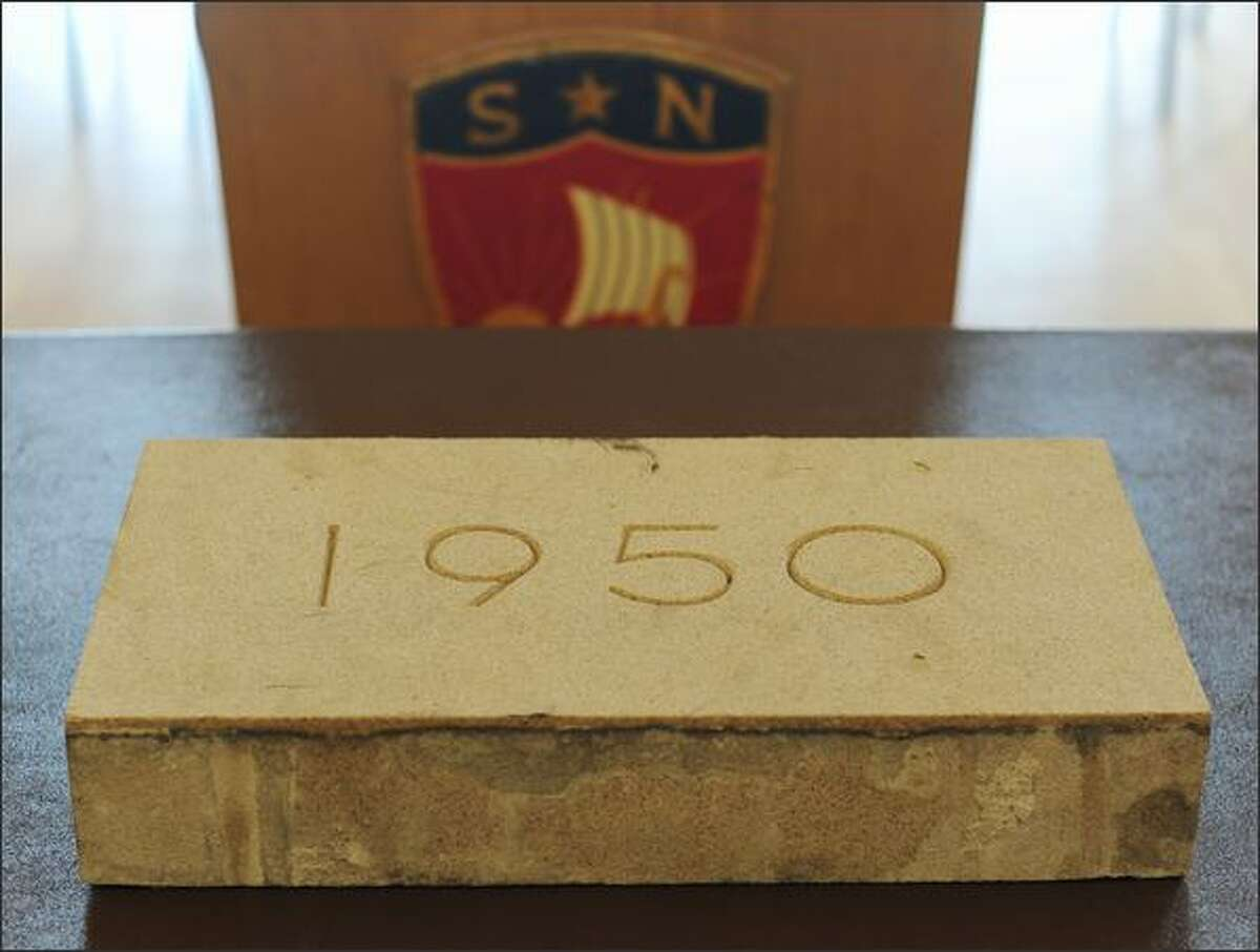The cornerstone of the former Norway Center building in Seattle was given to the Leif Erikson Lodge, Sons of Norway Hall, by the demolition crew who discovered the time capsule.
