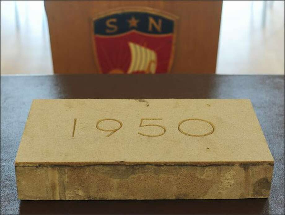 The cornerstone of the former Norway Center building in Seattle was given to the Leif Erikson Lodge, Sons of Norway Hall, by the demolition crew who discovered the time capsule. Photo: Thom Weinstein, Special To Seattlepi.com