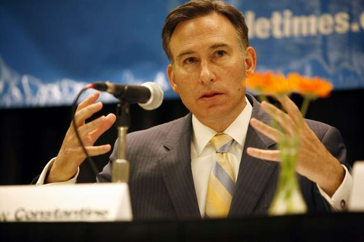King County Executive candidates Dow Constantine gives his closing remarks during a debate for the executive position sponsored by CityClub and The Seattle Times at Meydenbauer Center in Bellevue on Thursday.