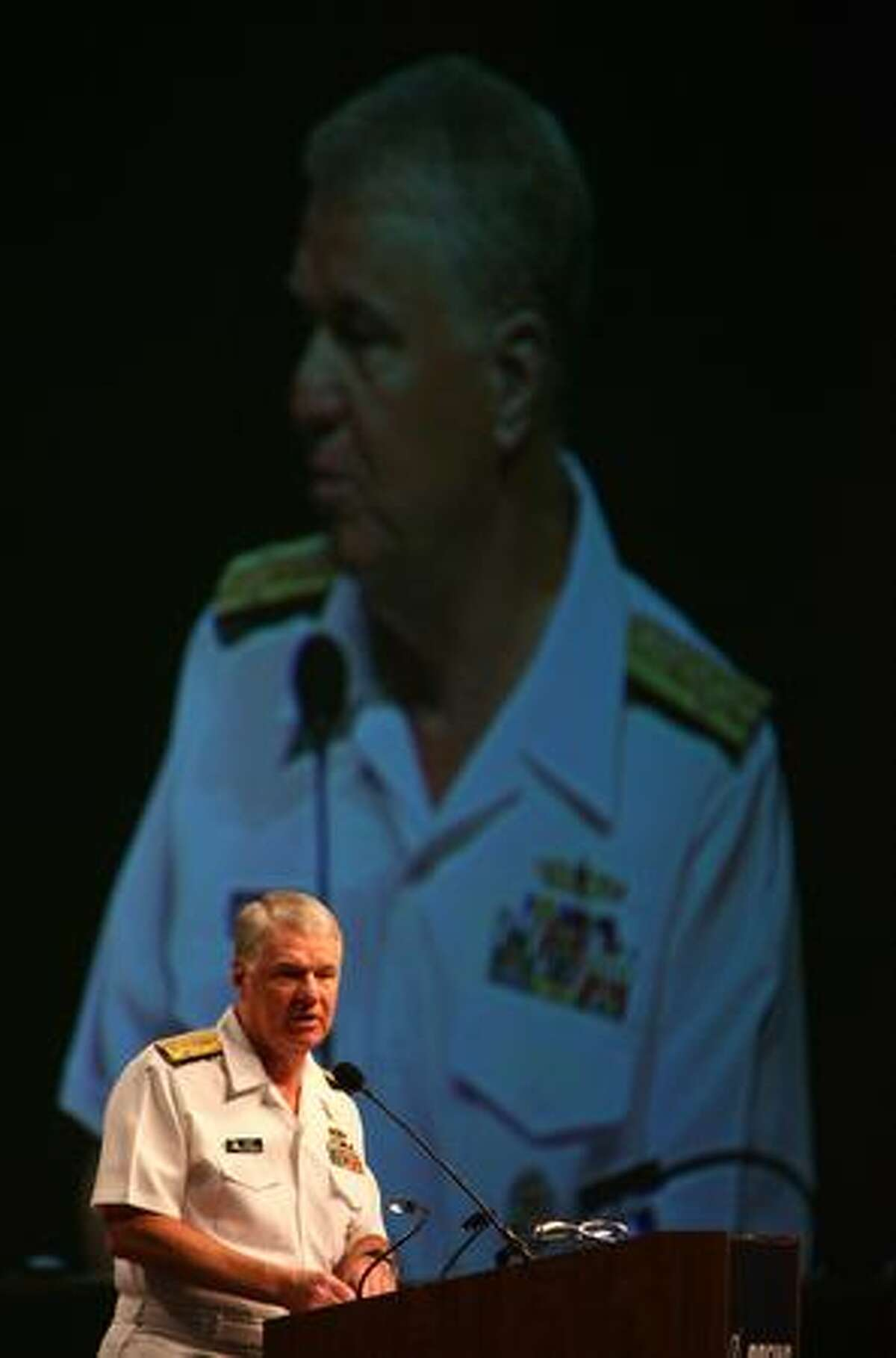 Adm. Gary Roughead, chief of Navy operations, speaks during the rollout ceremony for the new Boeing P-8A Poseidon at the Boeing plant in Renton. The P-8A Poseidon is a long-range, anti-submarine warfare, anti-surface warfare, intelligence, surveillance and reconnaissance aircraft.