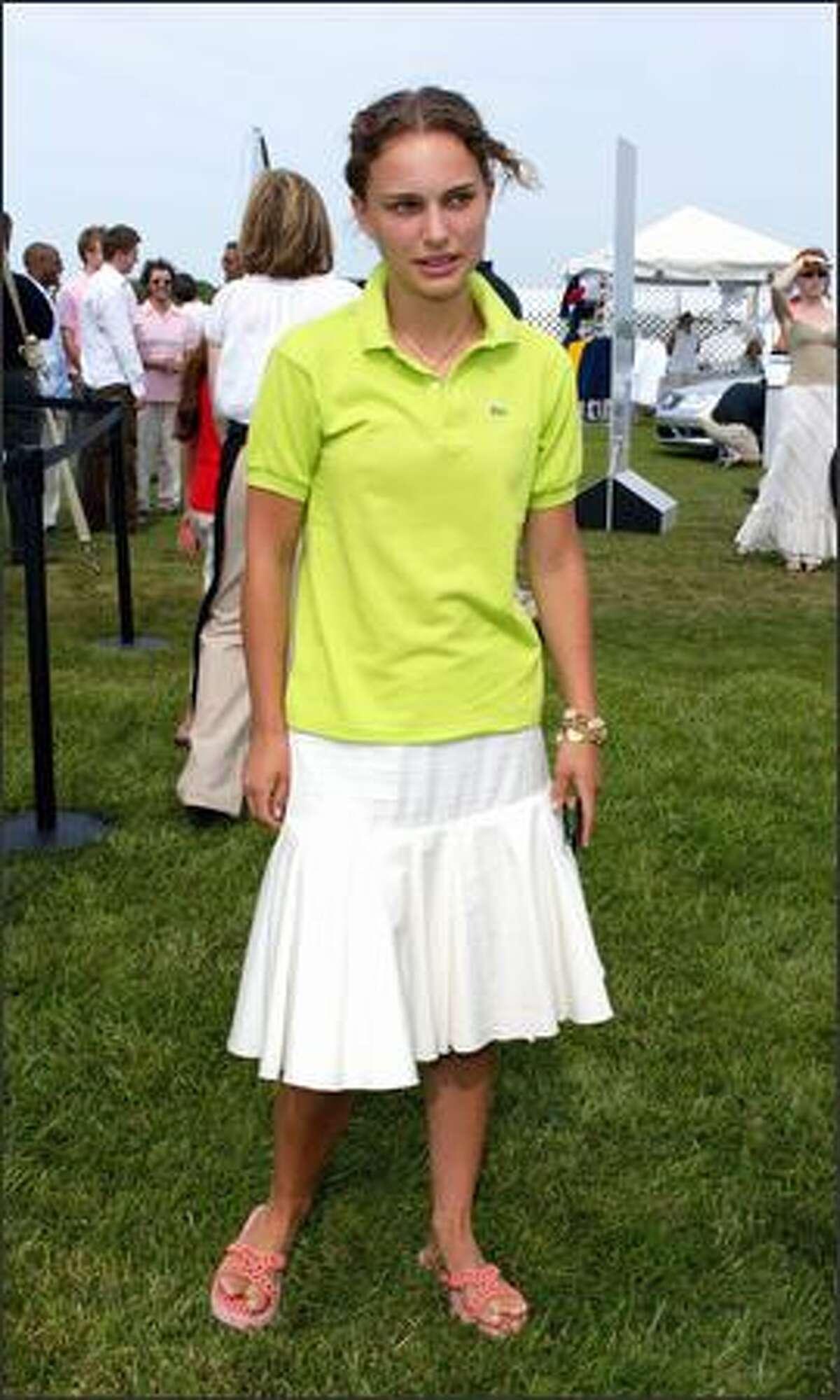 Natalie Portman attends the Mercedes-Benz Polo Challenge in Bridgehampton, N.Y., July 13, 2002.