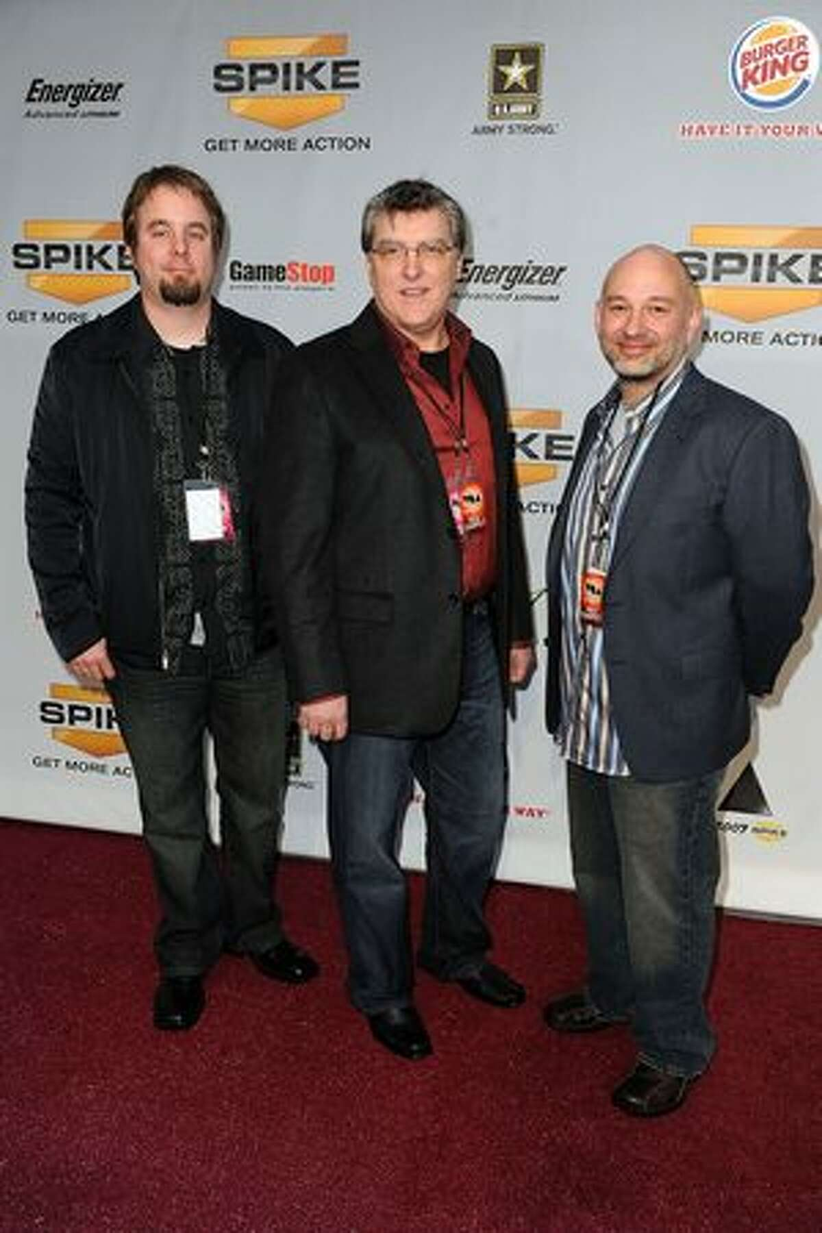 Brian Jarrard, Martin O'Donnell, and Curtis Kramer arrive at Spike TV's 7th Annual Video Game Awards at the Nokia Event Deck at LA Live on December 12, 2009 in Los Angeles, California.