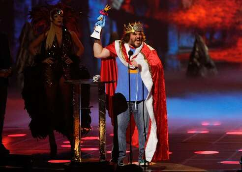 Actor Jack Black accepts the Best Voice award onstage during Spike TV's 7th Annual Video Game Awards at the Nokia Event Deck at LA Live on December 12, 2009 in Los Angeles, California. Photo: Getty Images