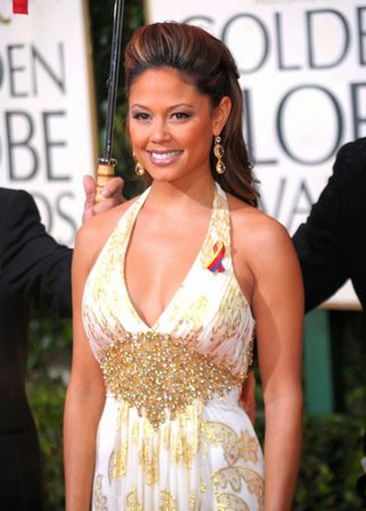 TV personality Vanessa Minnillo arrives at the 67th Annual Golden Globe Awards held at The Beverly Hilton Hotel in Beverly Hills, California.