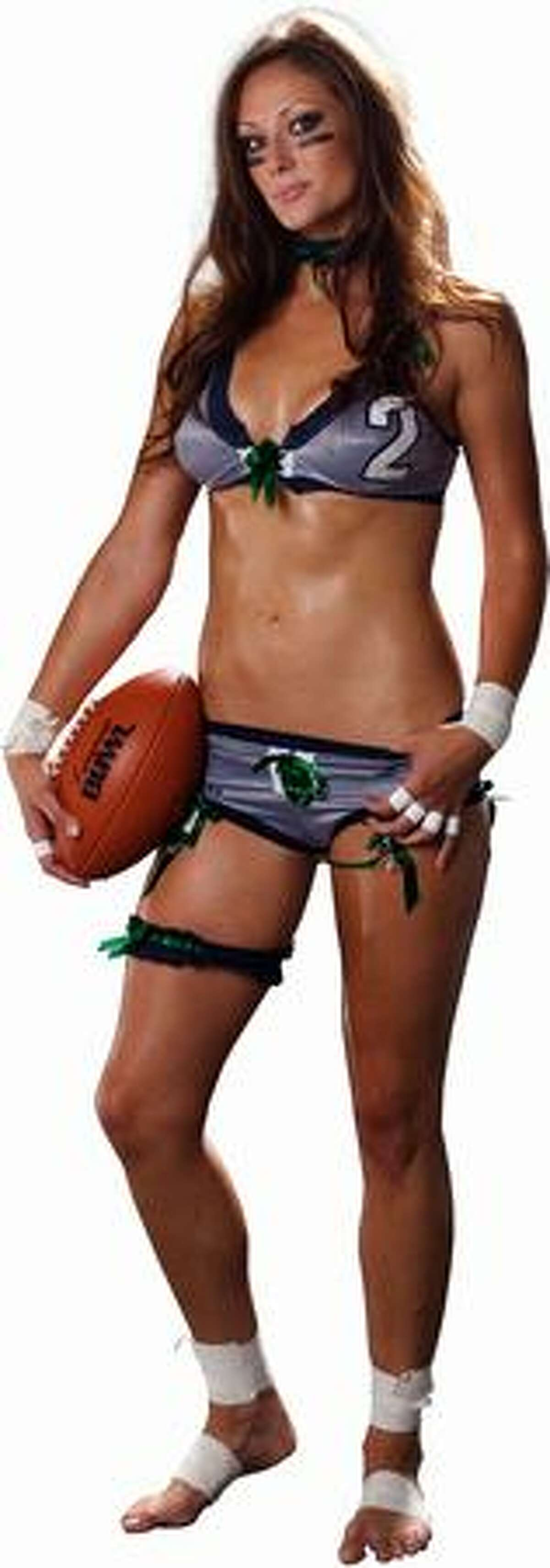 2. Jenna Bloczynski: Seattle Mist lingerie football player is a sassy brunette from Graham who will knock your socks off whether you're on the field or not. When I subbed for Kevin Calabro on his 710 ESPN Seattle radio show a few weeks ago, she was an in-studio guest, and I admit that my mind was in the gutter. -- Jim Moore (Lingerie Football League photo)