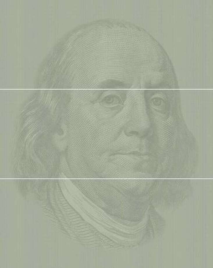 Ben Franklin, 2007: Shows 125,000 one-hundred dollar bills ($12.5 million), the amount the U.S. government spent every hour on the war in Iraq. (Chris Jordan)