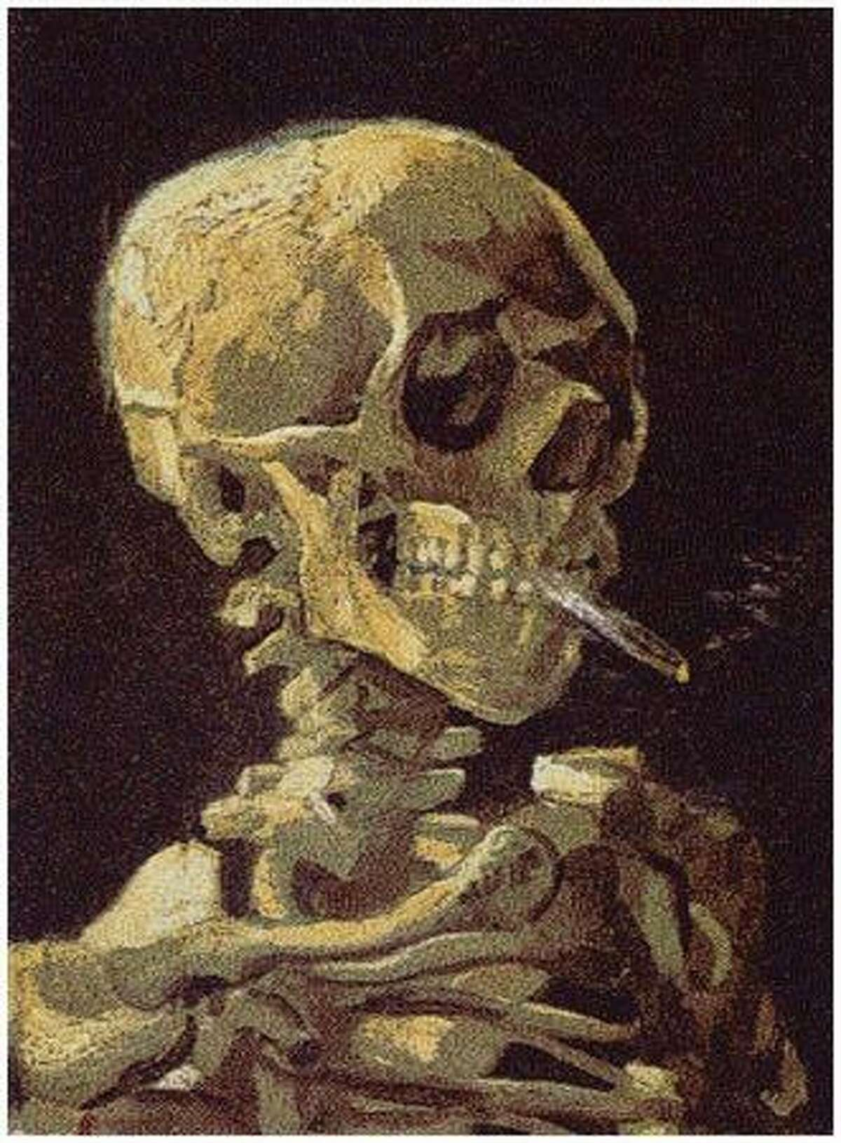 Skull with Cigarette, 2007: Shows 200,000 packs of cigarettes, equal to the number of Americans who then died from cigarette smoking every six months. (Chris Jordan)