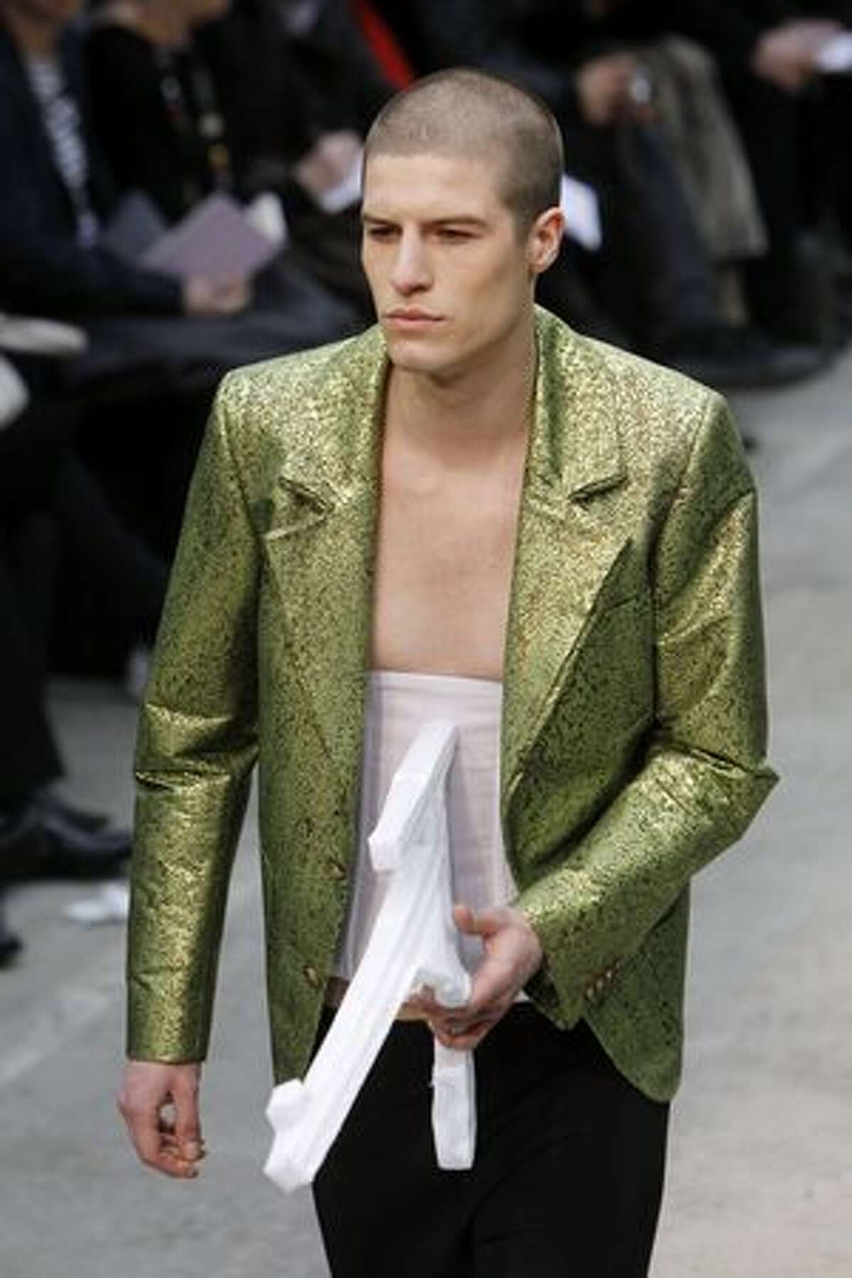 A model presents a creation by Belgian designer Walter Van Beirendonck during the Autumn/Winter's 2010-2011 ready-to-wear (French PAP) men's collection show in Paris.