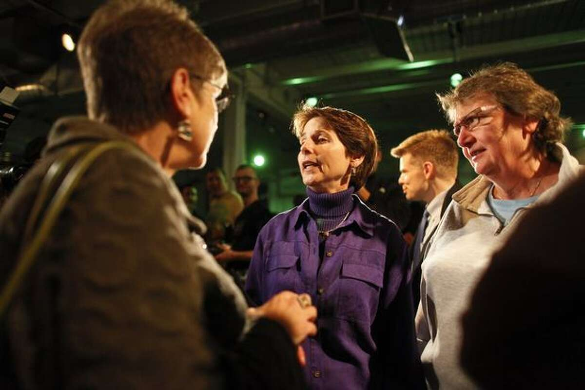Referendum 71 campaign chair Anne Levinson speaks to supporters at the approve Ref 71 party.