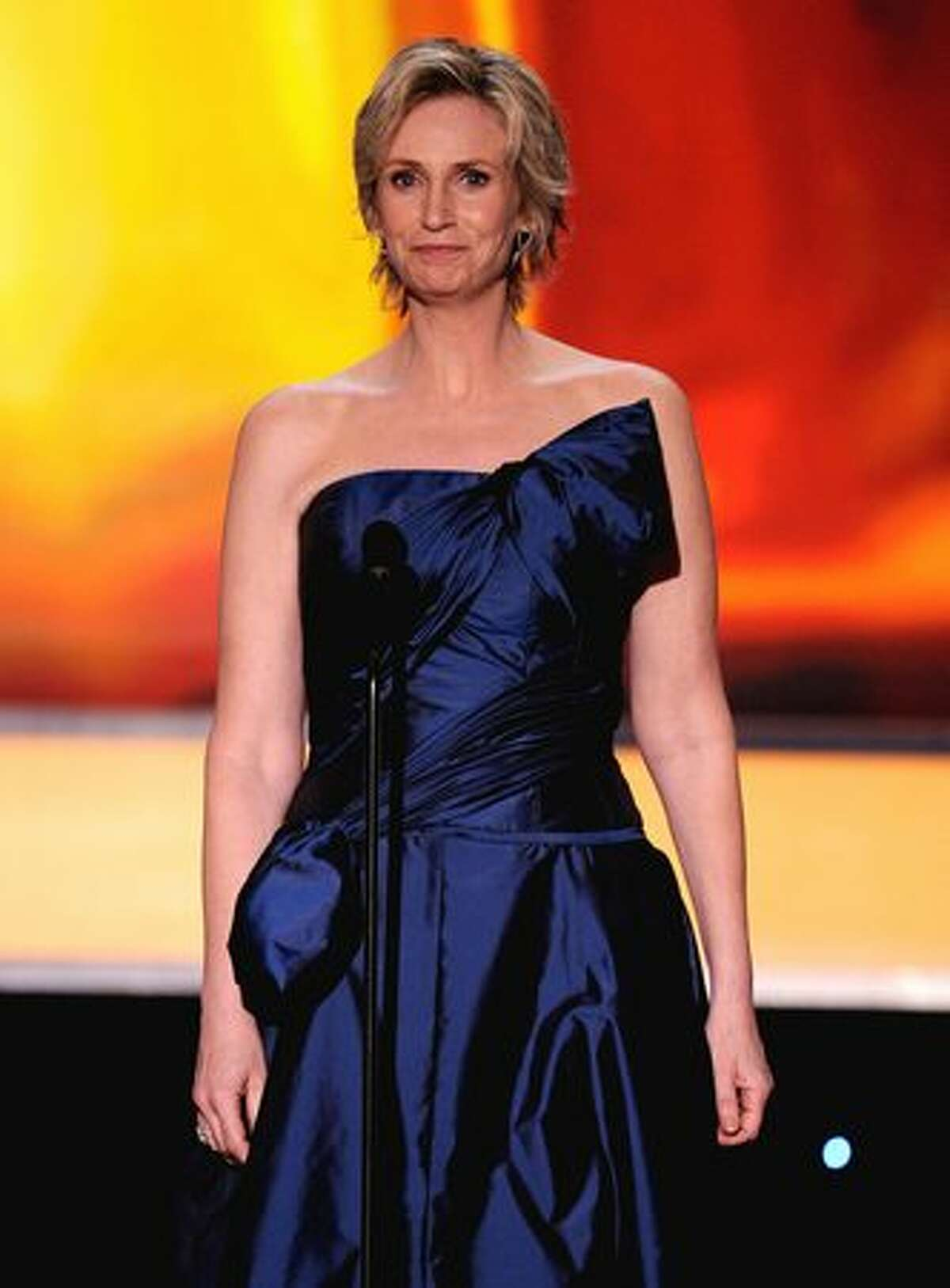 Actress Jane Lynch onstage.