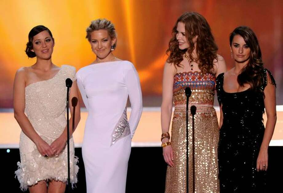 (L-R) Actresses Marion Cotillard, Kate Hudson, Nicole Kidman and Penelope Cruz speak onstage. Photo: Getty Images