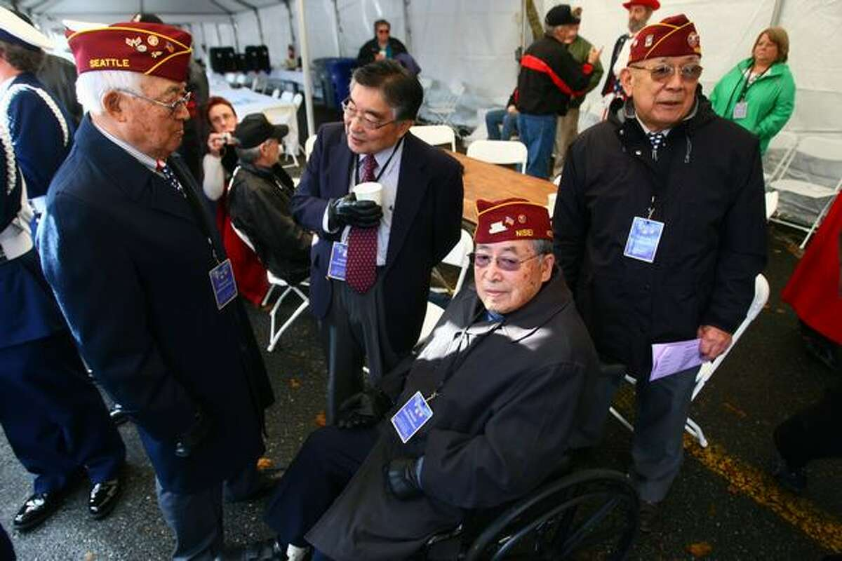 Nisei veterans hang out Wednesday prior to the Medal of Honor Memorial dedication at the University of Washington.