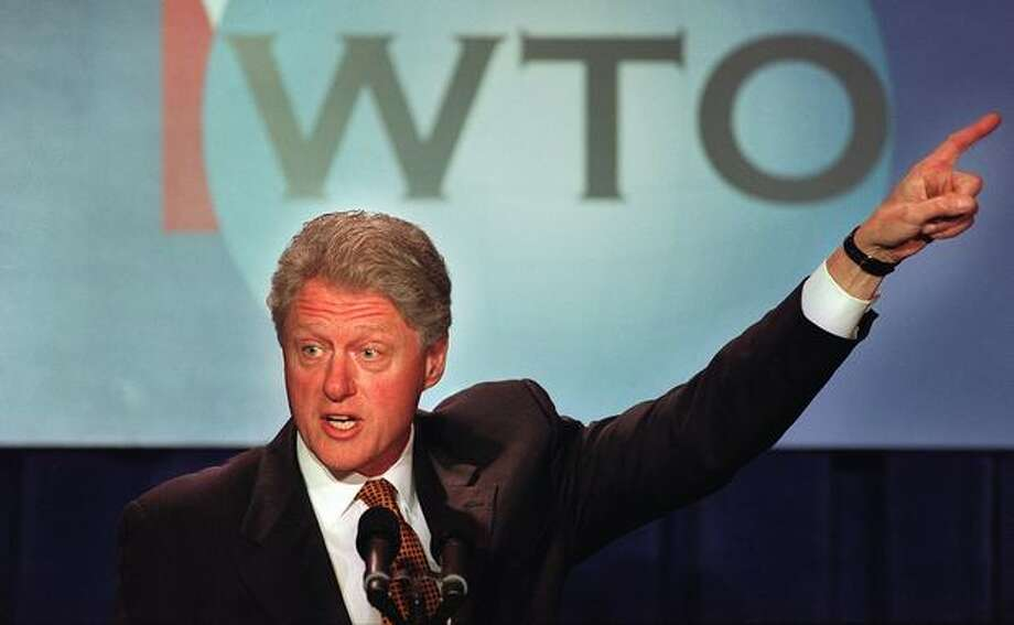 President Bill Clinton speaks to gathered ministers of the WTO on Dec. 1, 1999. (Photo by Paul Joseph Brown) Photo: Seattle Post-Intelligencer