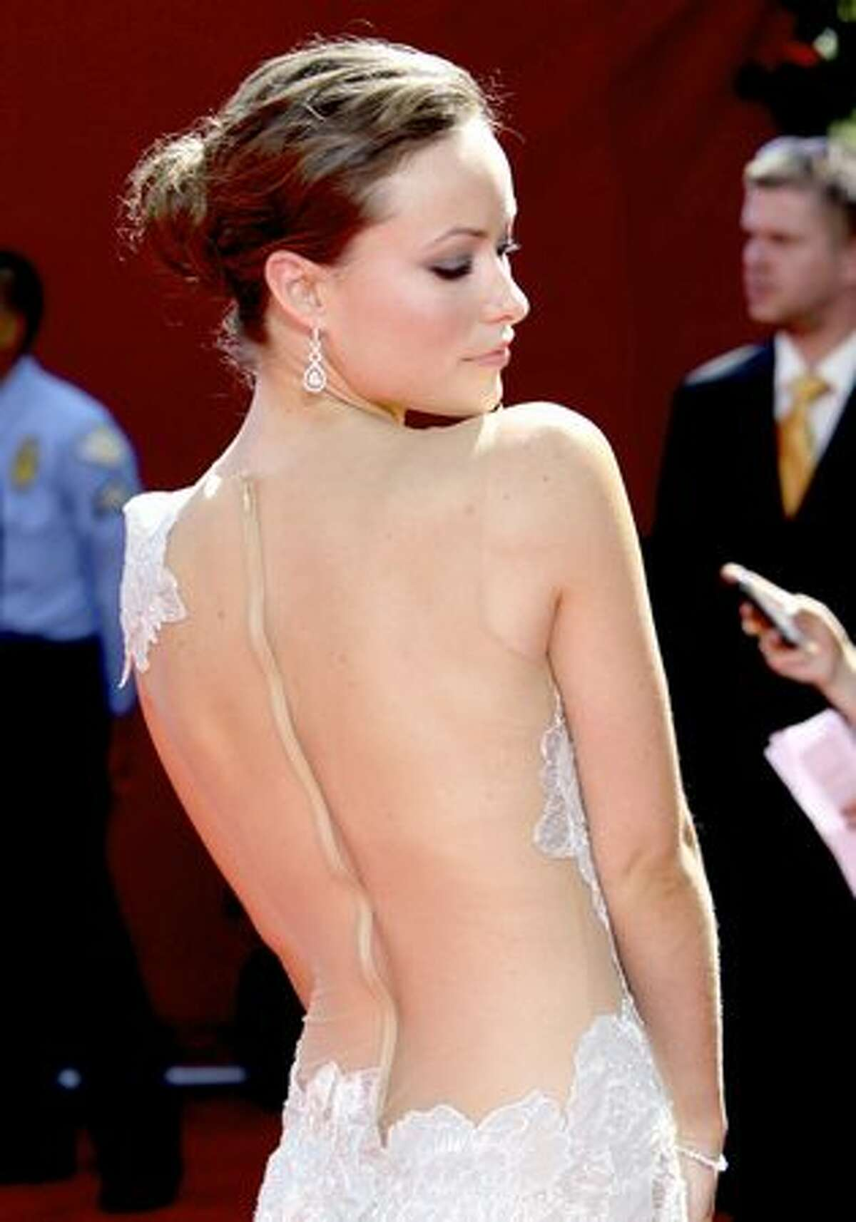 Actress Olivia Wilde arrives at the Primetime Emmy Awards in Los Angeles in September 2009.